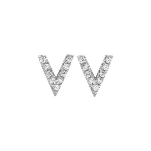 Sterling Silver CZ V Shaped Stud Earrings (ST-1152)