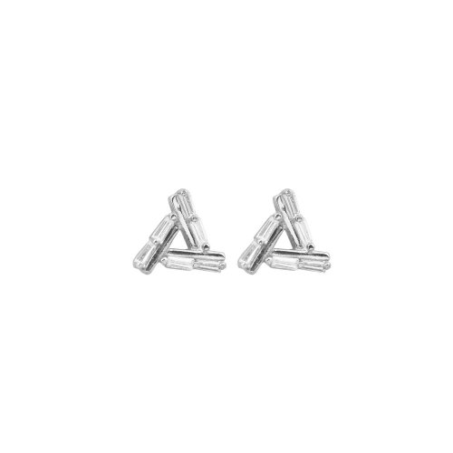 Sterling Silver CZ Triangle Baguette Stud Earrings (ST-1130)