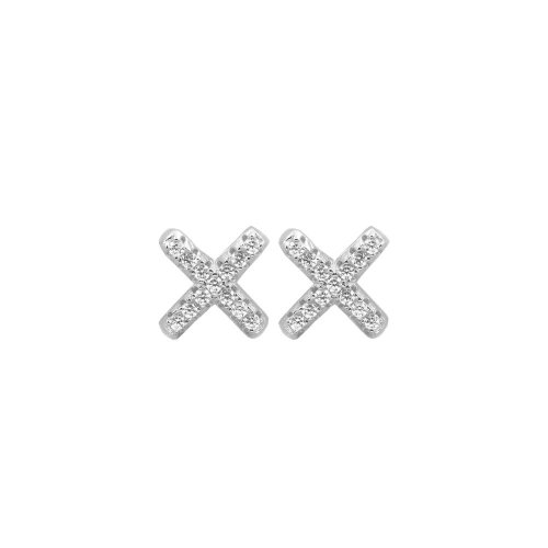 Sterling Silver CZ Criss Cross X Stud Earring (ST-1131)