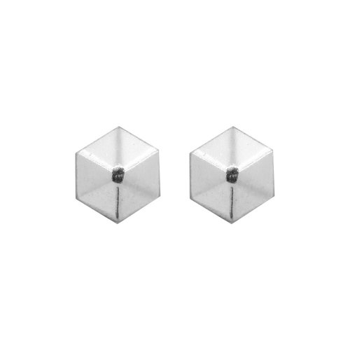 Sterling Silver Hexagonal Pyramid Stud Earrings (ST-1250)