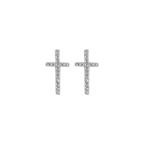 Sterling Silver CZ Cross Stud Earring (ST-1128)