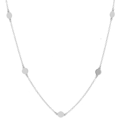 Silver Rhodium Plated Flat Polka Dot Circles Necklace (N-1157)