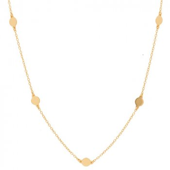 Gold Plated Flat Polka Dot Circles Necklace (N-1157-G)