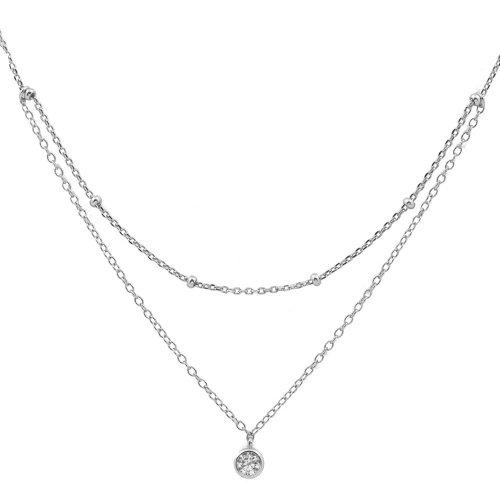 Sterling Silver CZ Double Ball Chain Choker Necklace (N-1237)
