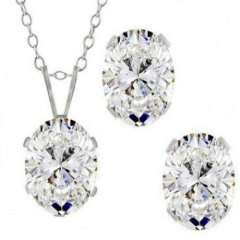 Silver Oval CZ Pendant Birthstone Set (PS-1054-APR)