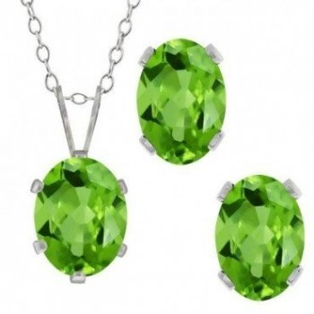Silver Oval CZ Pendant Birthstone Set (PS-1054-AUG)