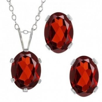 Silver Oval CZ Pendant Birthstone Set (PS-1054-JAN)