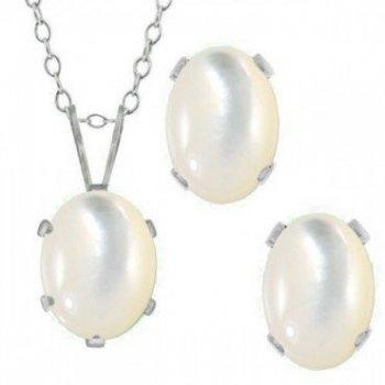 Silver Oval CZ Pendant Birthstone Set (PS-1054-JUN)