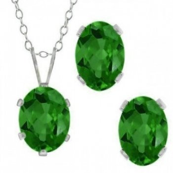 Silver Oval CZ Pendant Birthstone Set (PS-1054-MAY)