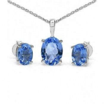 Silver Oval CZ Pendant Birthstone Set (PS-1054-SEP)