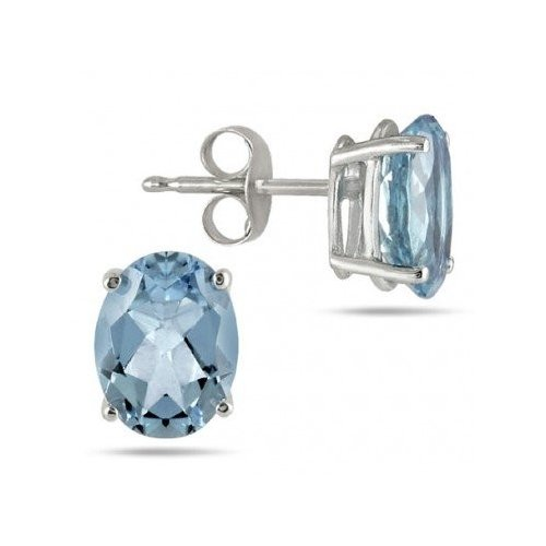 Silver Oval CZ Stud Birthstone Earrings (ST-1339-DEC)