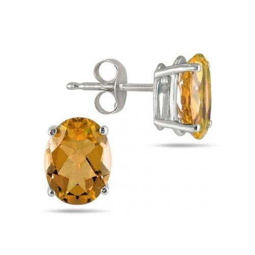 Silver Oval CZ Stud Birthstone Earrings (ST-1339-NOV)