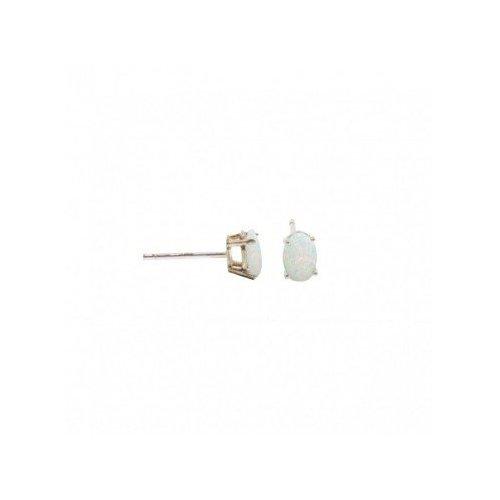 Silver Oval CZ Stud Birthstone Earrings (ST-1339-OCT)