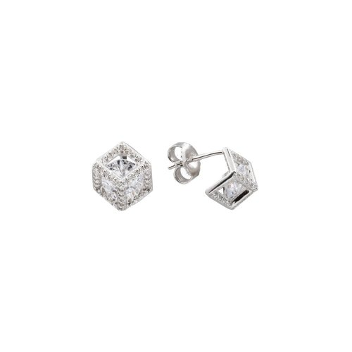 CZ Geometric cube studs with cz in middle (ST-1340)