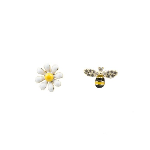 Sterling Silver Enamel Bee and Daisy mis-matched studs (ST-1358)