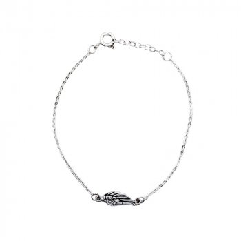 Sterling Silver Plain Angel Wing Bracelet (BR-1324)