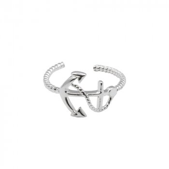 Sterling Silver Roped Anchor Toe Ring (TR-1034)