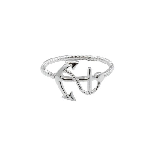 Sterling Silver Nautical Roped Anchor Ring (R-1449)