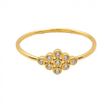 Gold Plated Sterling Silver Diamond CZ Clusters (R-1422-G)