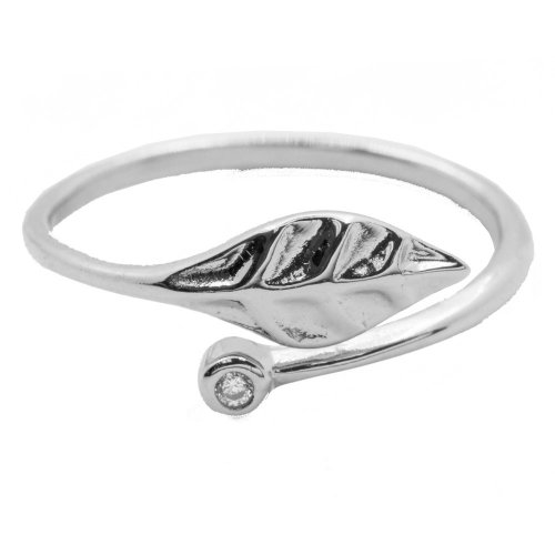 2cd727408 Sterling Silver Leaf Ring with Single CZ (R-1458) - House of Jewellery