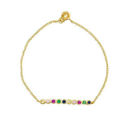 Sterling Silver Colourful Bezelled Bracelet (BR-1328)