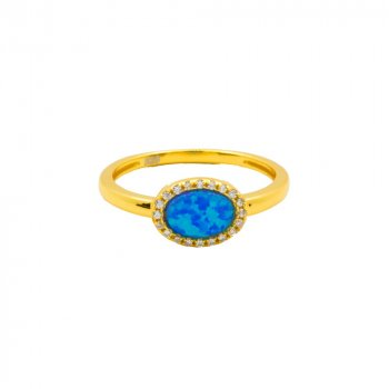 Sterling Silver Opal CZ Halo Ring (R-1451-G)
