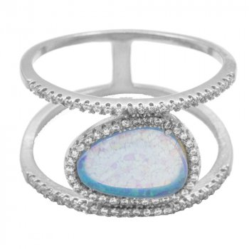 Sterling Silver Large CZ Halo Opal Ring (R-1456)
