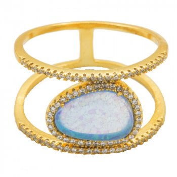 Sterling Silver Large CZ Halo Opal Ring (R-1456-G)