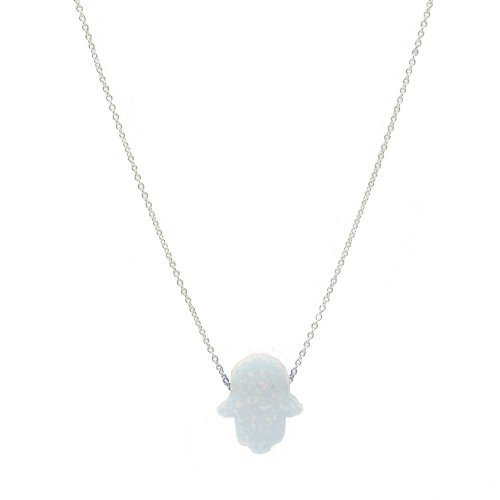 Sterling Silver Opal Hamsa Necklace (N-1303)