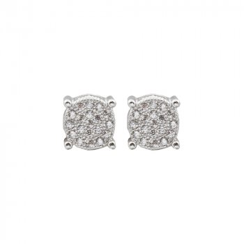 Silver 3-D Square Stud with Circle Pave Halo (ST-1386)