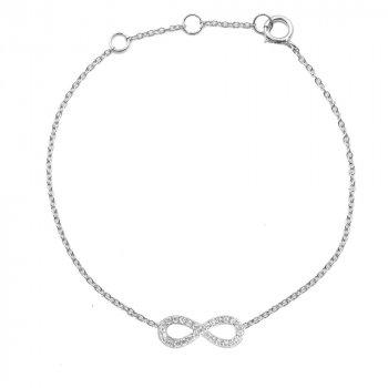 Sterling Silver CZ Infinity Bracelet (BR-1109)