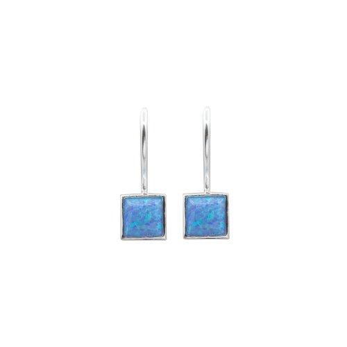 Sterling Silver Square Bezel Opal Earring (ER-1335)