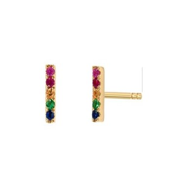 Sterling Silver Gold Plated Rainbow Bar Studs (ST-1394)