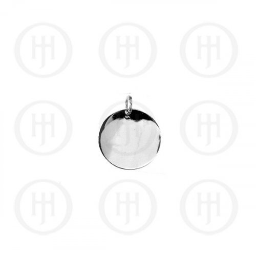 Sterling Silver Plated Round Dog-Tag Pendant 12mm (DT-C-105)