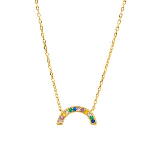Sterling Silver Gold Plated Rainbow Necklace (N-1352)