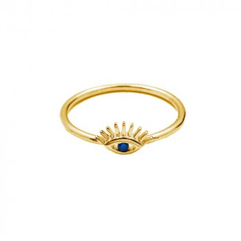 Sterling Silver Gold Plated Evil Eye Ring (R-1473-G)