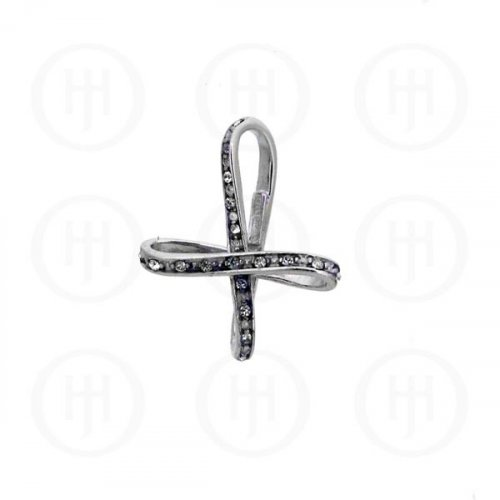 Sterling Silver CZ Cross Bow Pendant (CR-1034)