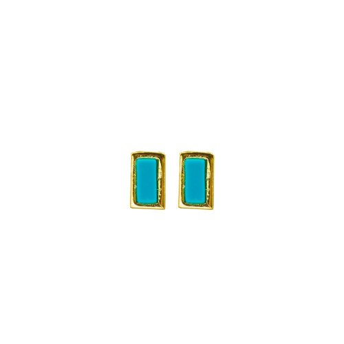 Sterling Silver Gold Turqoise Rectangle Studs (ST-1377-TQ)