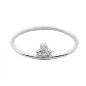 Sterling Silver Triple Bezel CZ Ring (R-1472)