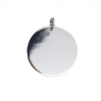 Silver Round Dog-Tag Pendant 30 mm (DT-C-121)