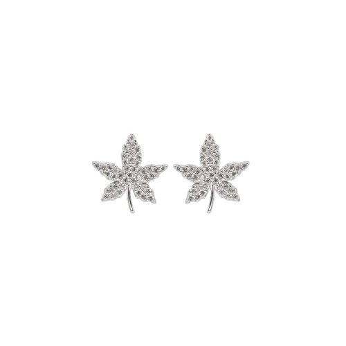 Sterling Silver CZ Maple Leaf Studs (ST-1415)