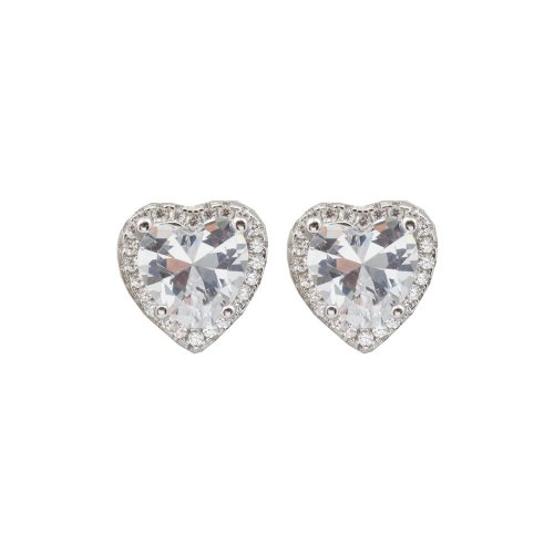 Sterling Silver Halo CZ White Heart Studs (ST-1404)