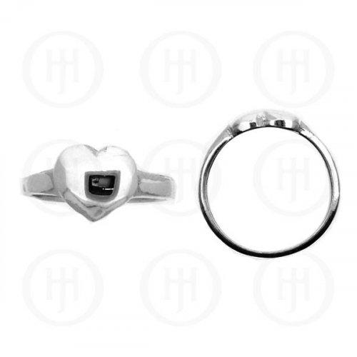 Silver Plain Heart Ring (R-1129)
