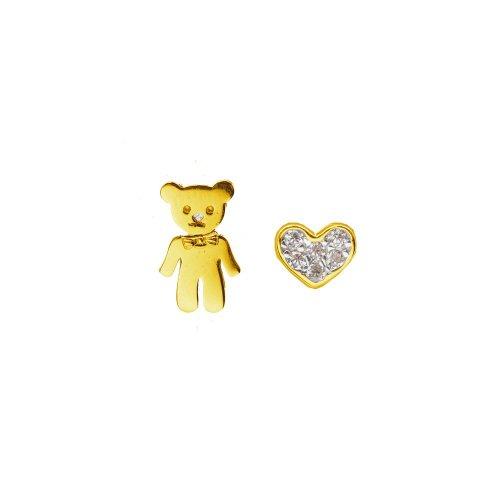 Sterling Silver Teddy Bear + Heart Studs (ST-1421)