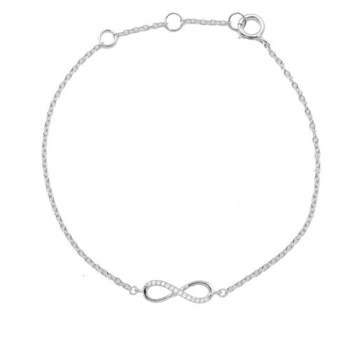 Sterling Silver Rhodium Plated Half CZ Infinity Bracelet (BR-1216)