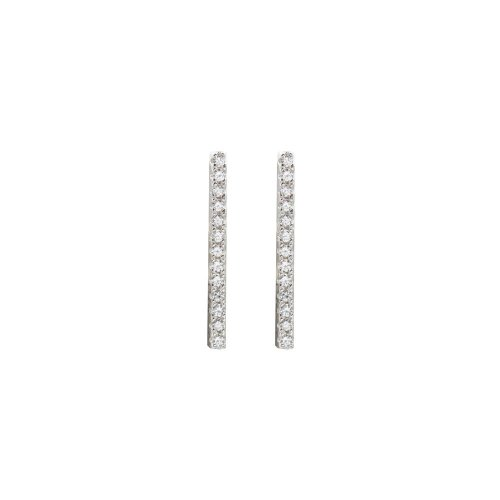 Sterling Silver CZ Long Bar Studs (ST-1424)