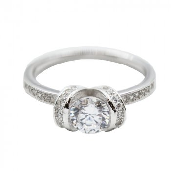 Sterling Silver Rhodium Plated Double Loop CZ Engagement Ring (R-1480)