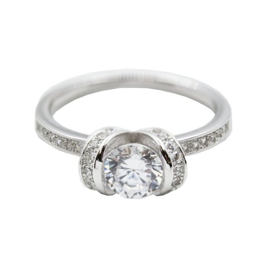Sterling Silver Rhodium Plated CZ Engagement Ring (R-1480)
