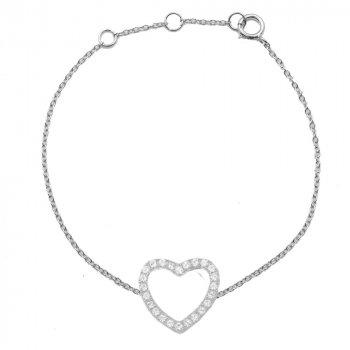 Sterling Silver CZ Heart Shaped Bracelet (BR-1342)