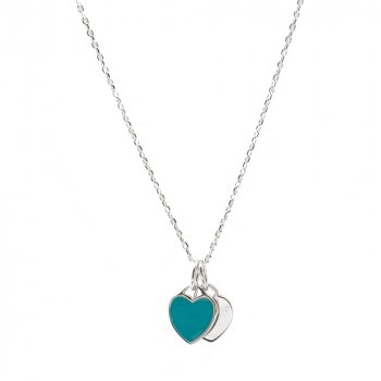 Sterling Silver Tiffany inspired Double Heart Necklace (N-1366)